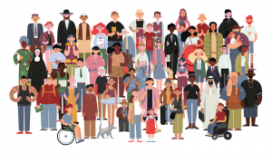 This image shows a diverse group of people (gender, age, ethnicity, disability). Emergency preparedness concerns us all to build community resilience.