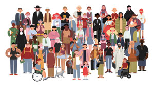 his image shows a diverse group of people (gender, age, ethnicity, disability). Emergency preparedness concerns us all to build community resilience.